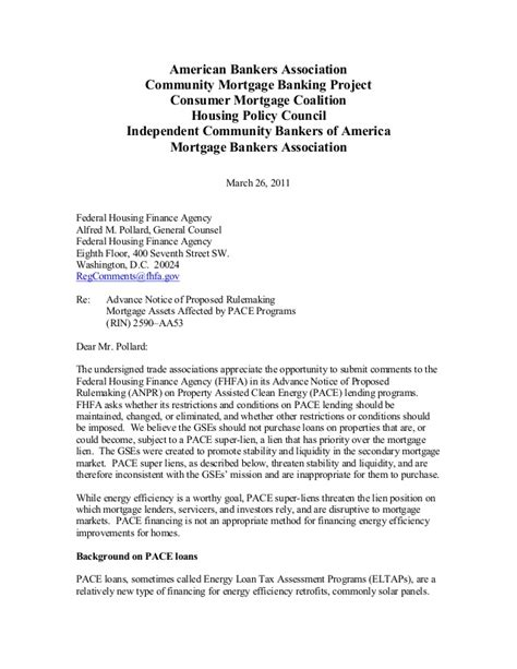 Loan Maturity Notice Letter Nar Mba Fhfa Comment Letter