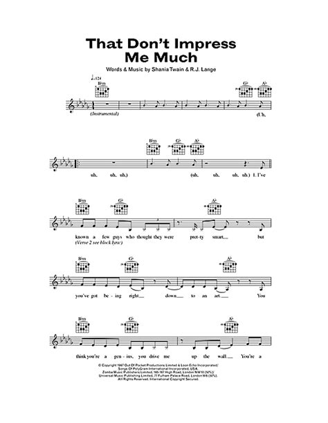 Shania Twain That Dont Impress Me Much Tabs Chords | that don t impress me much chords by shania twain melody