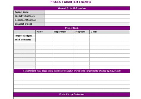 project charter template free project team charter template images