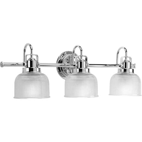 Chrome Vanity Lighting Bathroom Lighting The Home Depot Lights And Ls by Progress Lighting Archie Collection 26 25 In 3 Light Chrome Bathroom Vanity Light With Glass