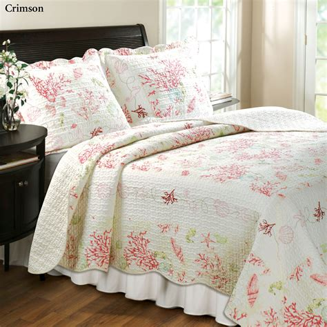 quilted bed sets coral cotton quilt bedding set