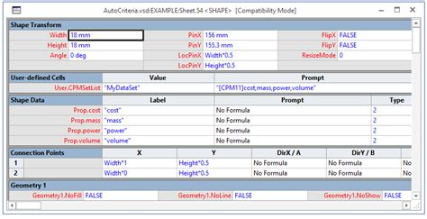 visio shape sheet auto computed values in visio diagrams with vba