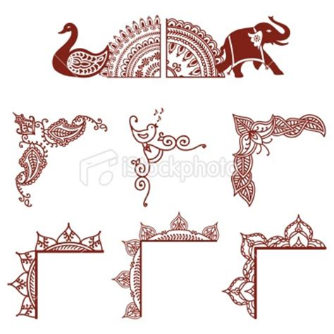 indian pattern frame indian culture henna tattoo pattern design elephant