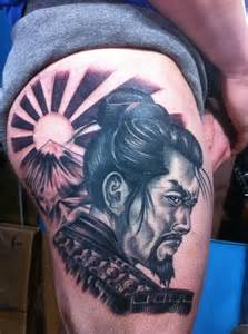 Japanese samurai tattoo design and meaning on thigh tattoo design