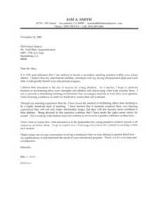 Exle Of Cover Letter For Teaching by Secondary Cover Letter Sle