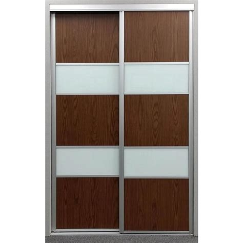 Glass Sliding Closet Doors Contractors Wardrobe 72 In X 96 In Sequoia Walnut And White Painted Glass Aluminum Interior