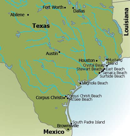 beaches in texas map map of texas texas state map