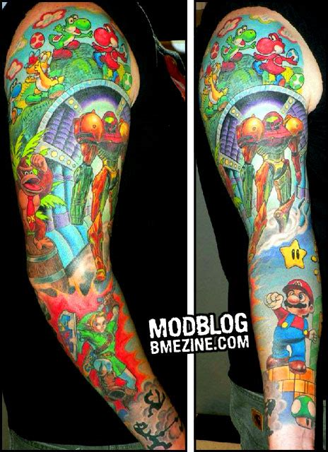 super smash bros tattoo nintendo fanboy sleeve bme piercing and