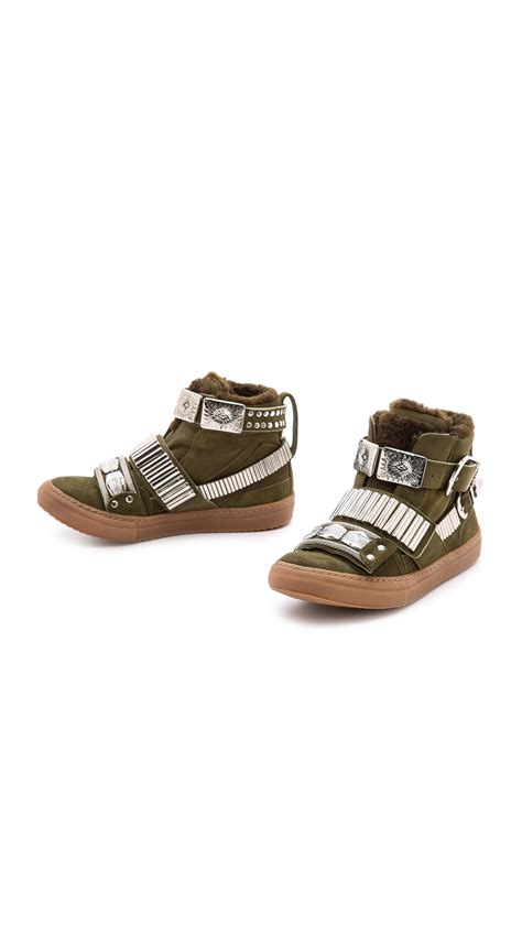 shearling lined sneakers toga pulla shearling lined sneakers khaki in lyst