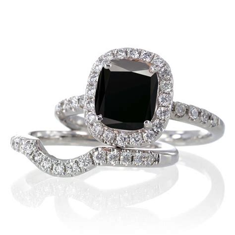 2 carat unique black and bridal ring set