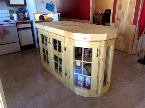 pallet kitchen island with glass paneled storage cabinet doors why we pallet ideas
