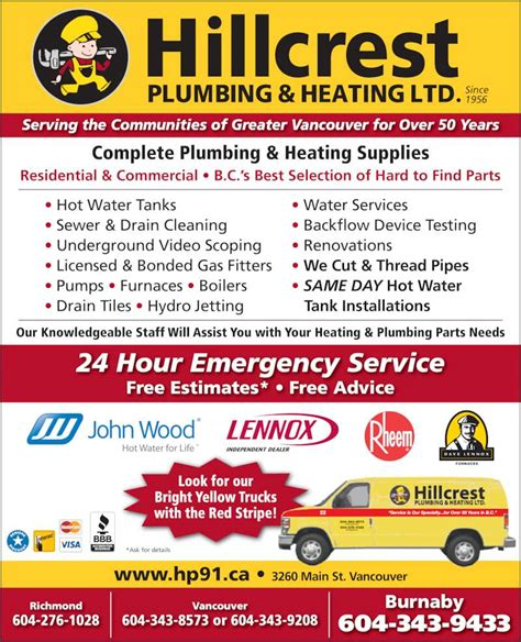 Ads Plumbing And Heating by Hillcrest Plumbing Heating Burnaby Branch Canpages