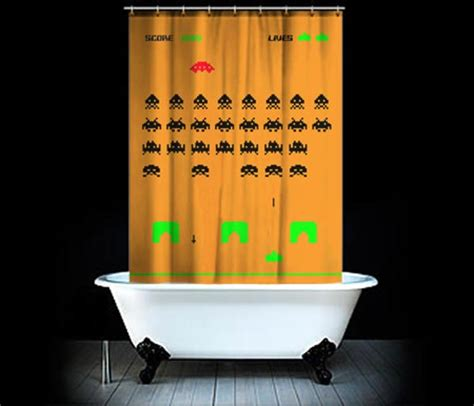 geeky shower curtains space invaders shower curtain