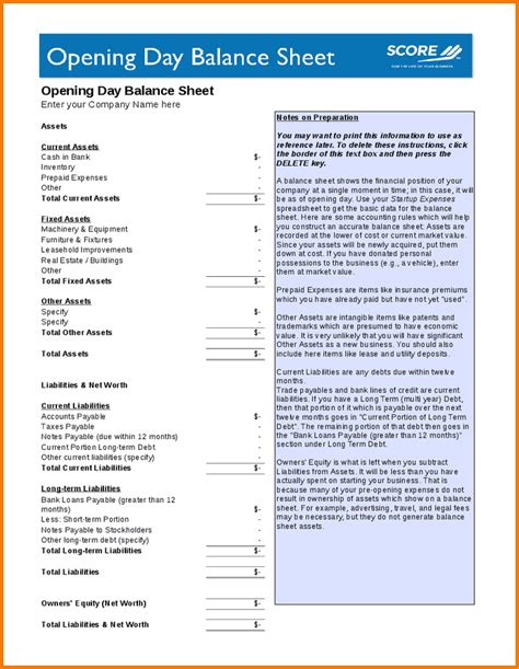 opening day balance sheet authorization letter pdf