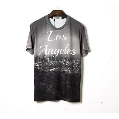 Tshirt Los Angeles La Black stretch slim fit t shirt for with los angeles skyline