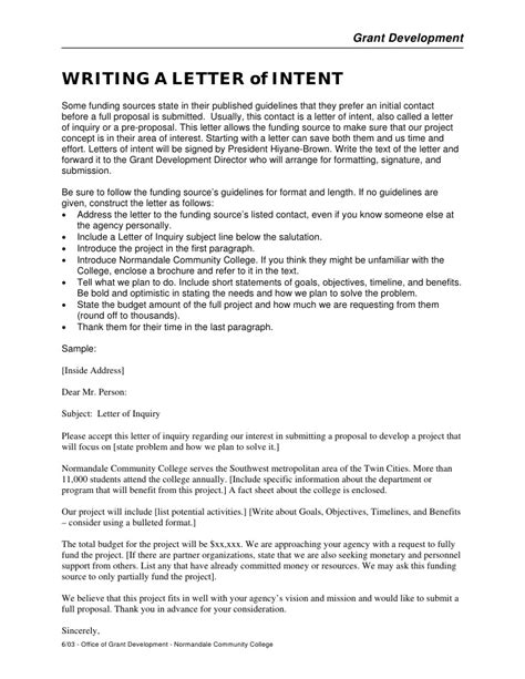 Letter Of Intent Format Grant Writing A Letter Of Intent