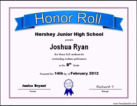 free printable honor roll certificate templatezet