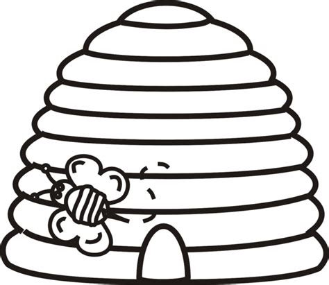 hive template beehive with bee outline clipart best