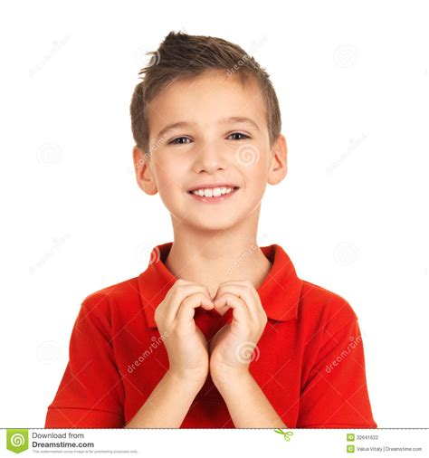 boy s portrait of happy boy with a heart shape stock photo