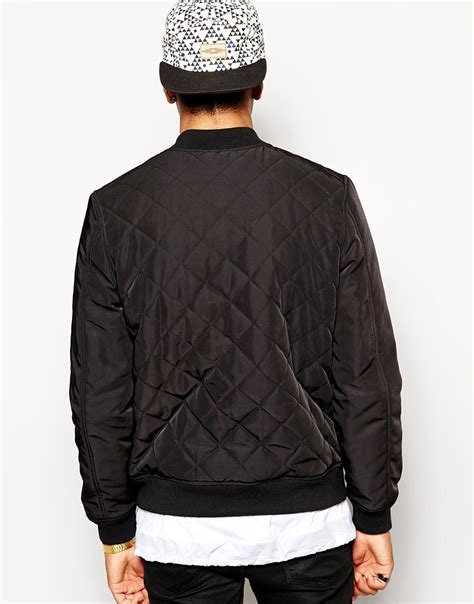 Black Quilted Bomber Jacket by Asos Quilted Bomber Jacket In Black For Lyst