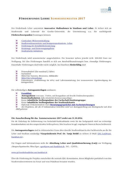 Goethe Uni Frankfurt Bewerbung Sommersemester Goethe Universit 228 T Ausschreibung F 246 Rderfonds Lehre Sommersemester 2017