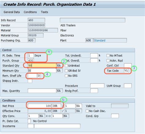 Are Tax Records Information Create Purchasing Info Records Sap Tutorials