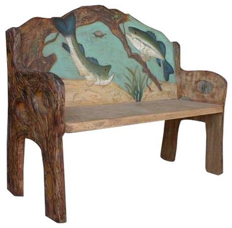 rustic benches indoor fish hand painted rustic bench rustic indoor benches