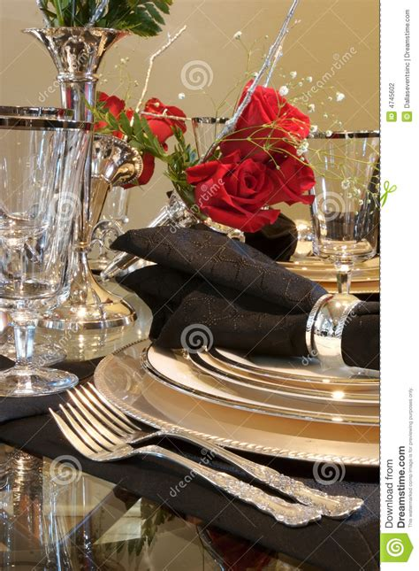 formal dining room place setting stock photography image