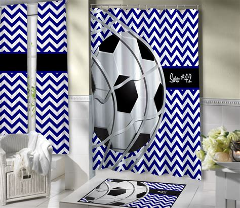 sports themed shower curtain blue and white soccer shower curtain kids sports theme