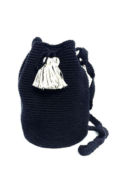 B W Bag b w crocheted bag black and white