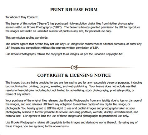 print release template print release form 8 free sles exles formats
