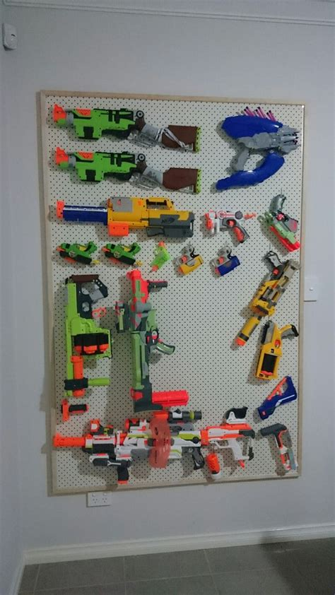 Pegboard Gun Rack by Nerf Gun Storage Rack Pegboard With Pine Frame Nerf