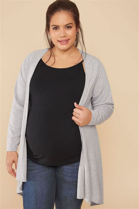 30769 Gray White Two Side bump it up maternity grey waterfall cardigan plus size 16
