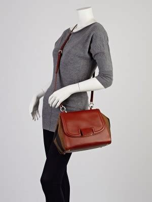 Silvana Overall fendi brown leather and tobacco pequin stripe canvas