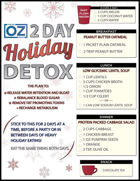 2 Day Detox Plan Health Aide dr oz s detox printable one sheet the dr oz show