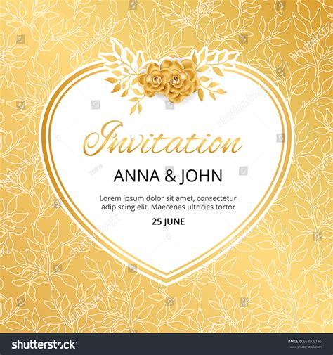 Marriage Anniversary Card Vector by Gold Flower Wedding Invitation Weddings Stock Vector
