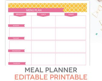 printable lunch meal planner freezer inventory printable editable meal planning