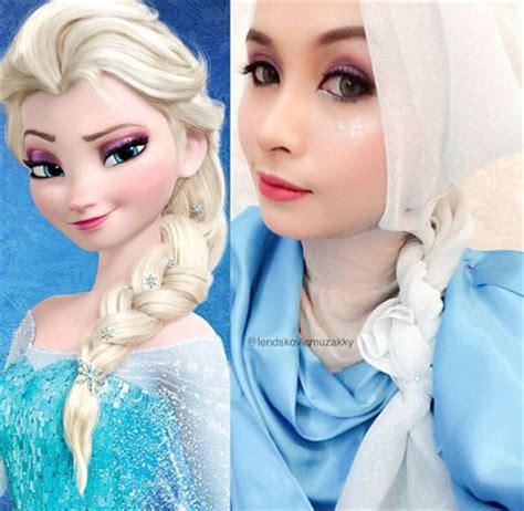 tutorial menggambar kartun frozen hijab style 5 hijabers bergaya ala elsa frozen miulan