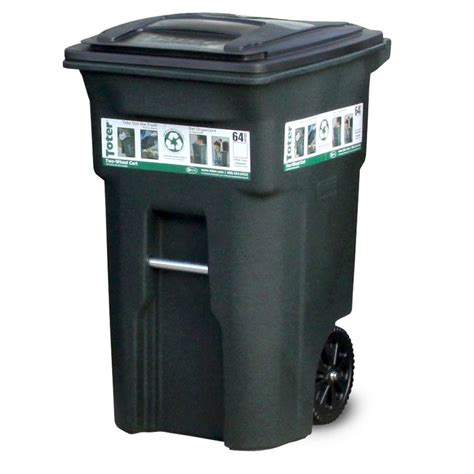 64 gallon trash can toter 64 gal green trash can with wheels and attached lid 025564 01grs the home depot