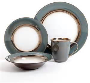 Paula Deen Dining Room Set Gibson Elite Westfield Blue Metallic 16 Piece Stoneware
