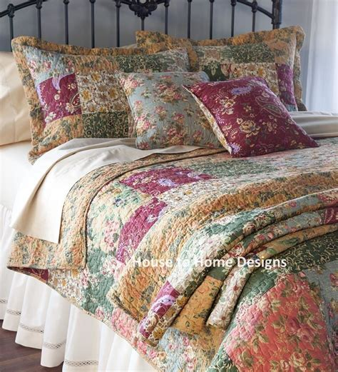 antique country patchwork king quilt set floral paisley
