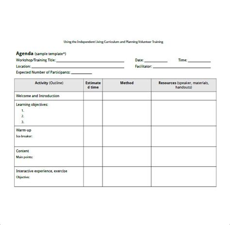 10 training agenda templates free sle exle
