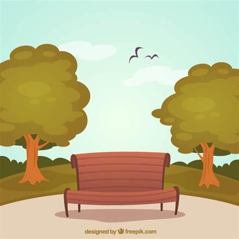 banco imagenes vectores gratis parque con banco de madera descargar vectores gratis