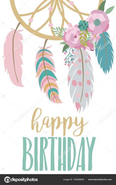 template birthday card illustrator plantilla de tarjeta de feliz cumplea 241 os en estilo boho