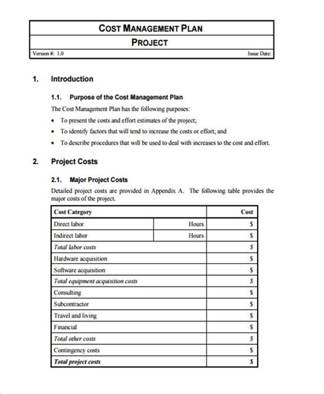 project cost template 34 management plan templates in pdf free premium templates