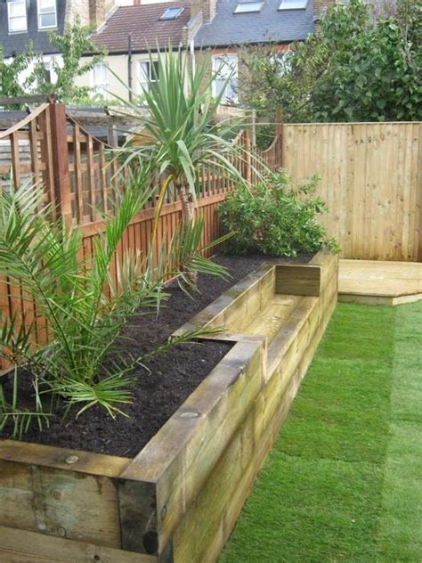 Railway Sleeper Planter by Built In Planter Ideas Railway Sleepers Raised Bed And