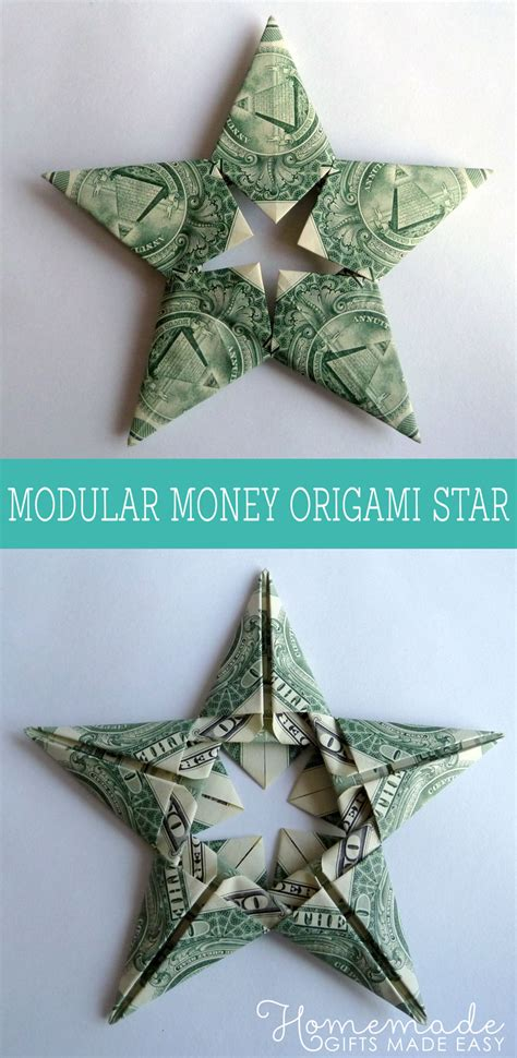 Easy Money Origami - modular money origami from 5 bills how to fold step
