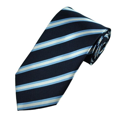 Light Navy by Navy Light Blue Silver Diagonal Striped Tie From Ties