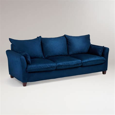 Cost Of Slipcovers midnight blue microsuede luxe 3 seat sofa slipcover traditional sofas by cost plus world