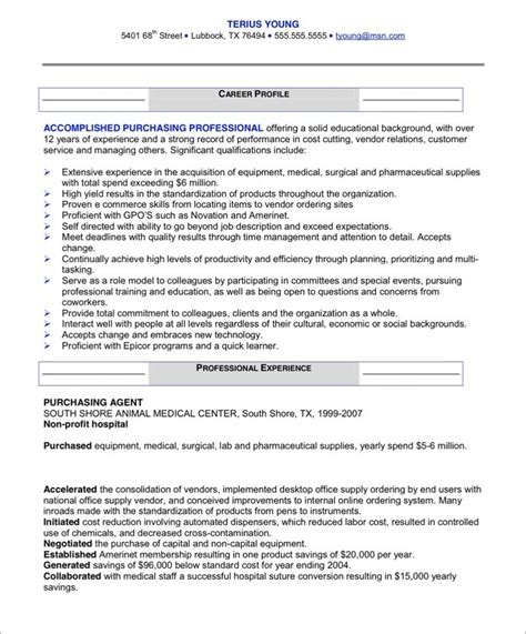 Purchasing Resume by Purchasing Manager Free Resume Sles Blue Sky Resumes